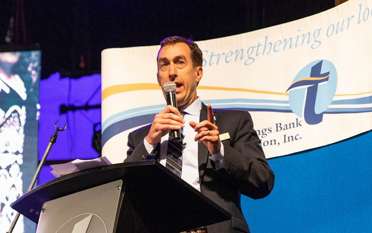 President of Thomaston Savings Bank, Stephen L. Lewis, talking from the podium at the 2018 Foundation Night